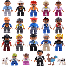 LEGOing Duplo Family Mom and Dad Grandfather Uncle Sister Brother Early Enlighten Figures Set LEGOings Duploes Toys For Children(China)