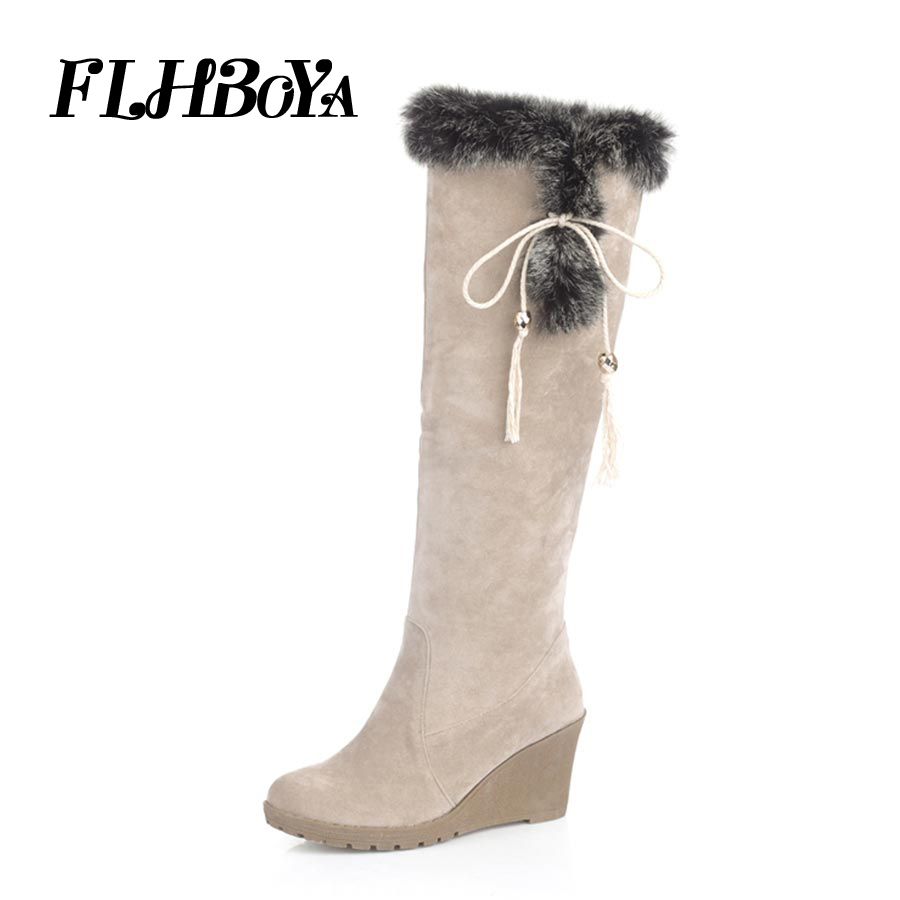 FLHBOYA New Fashion Women Knee-high Riding Long Boots Winter Frosted Grey Slip-on Round Toe Boots Keep Warm High Heels Shoes poadisfoo women winter knee high boots casual winter down snow boots popular round toe slip on shoes long warm show boots x 85