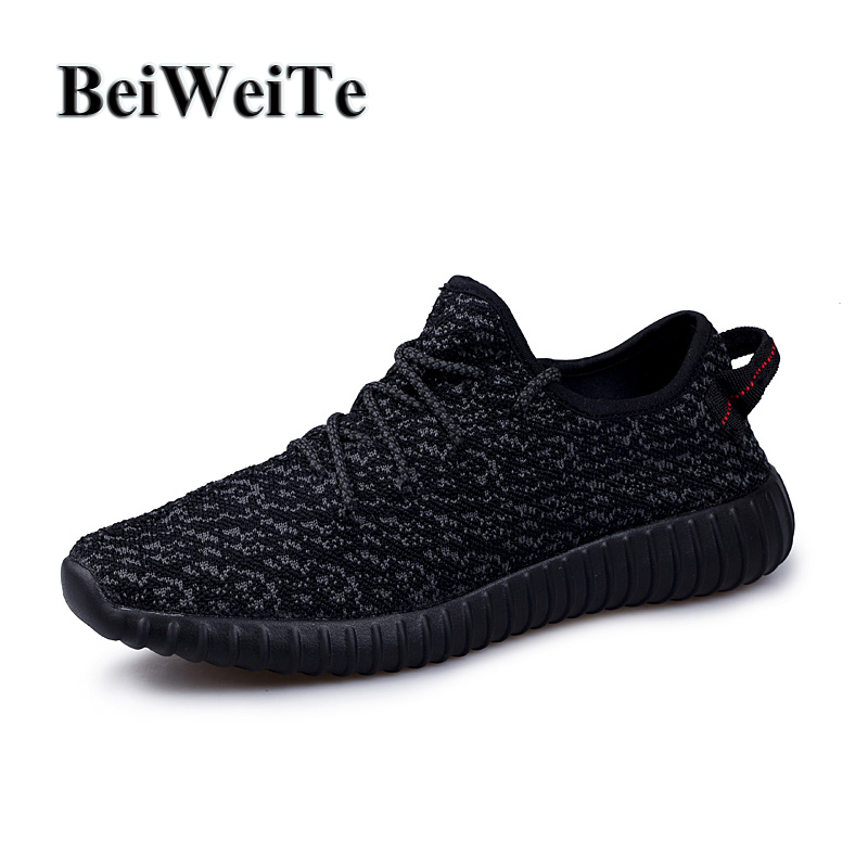 BeiWeiTe Lovers Light Women Running Shoes Yeezy Style Breathable Mesh Jogging Sports Sneakers Men's Walking Trainer Black Shoes