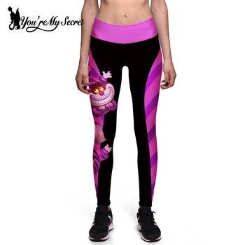 [You're My Secret] Halloween Women Leggings High Waist Silm Fitness Leggins Alice In Wonderland Smile Cat Digital Print Pants 1