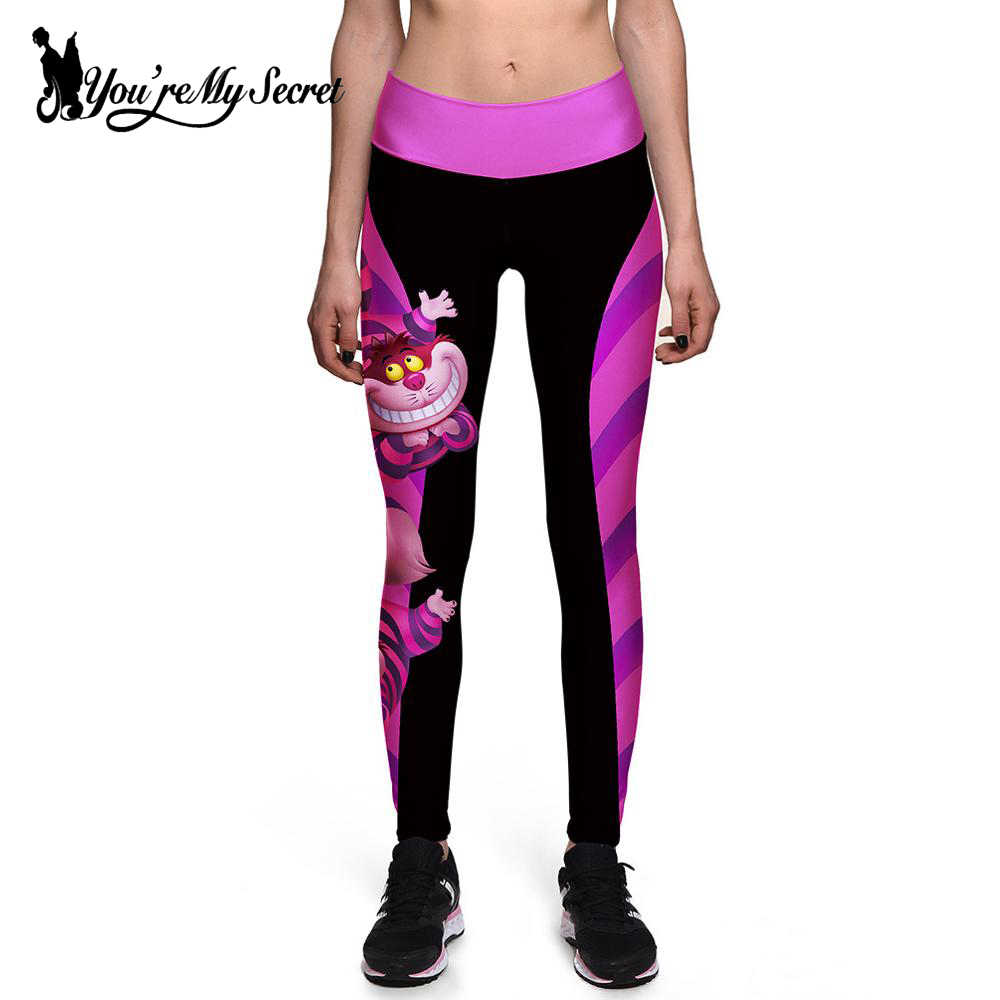 [Jesteś moim sekretem] Halloween kobiety legginsy wysokiej talii Silm Fitness leginsy alicja w krainie czarów Smile Cat spodnie z nadrukiem cyfrowym