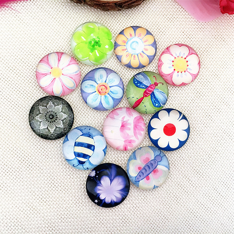 MRHUANG Flower Insect Butterfly Glass Round Cabochon 10mm 12mm 14mm 18mm 20mm 25mm Flatback Photo Dome Jewelry Accessories