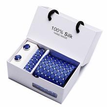 2018 Mens Tie Blue Novelty 100% Silk Fashion Necktie Hanky Cufflinks Ties For Men 2 pcs/lot wholesale group tie