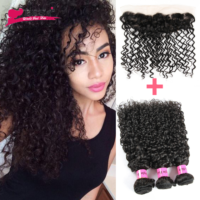 7A Malaysian Curly Hair with Closure Ear to Ear Lace frontal Closure with Bundles Afro Kinky Curly Hair 3 Bundles with Closure