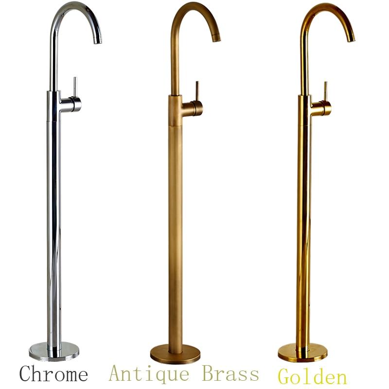 Wholesale And Retail Chrome Brass Bath Tub Faucet Floor Mounted Tub Filler Single Pole Swivel Spout Bathtub Mixer Taps