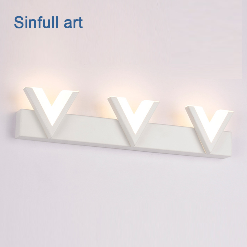 Bathroom Led Mirror Light 12W 25cm 18W 40cm AC220V Wall Lamp Acrylic Modern Indoor Home Lighting Fixtures SINFULL ART Led Sconce 80cm modern led acrylic wall lamp 13w right angle style wall light bathroom mirror light stainless sconce home lighting fixtures