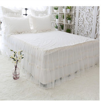 Korean bed skirt with bed surface solid color white cotton embroidered lace bedspread 45cm height bed apron free shipping YYX