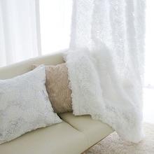 Сплошной Белый Тюль Оконные Шторы для Спальни Занавес для Гостиной Роза Жаккард Sheer Небольшая Кухня Шторы Шторы 1 ШТ.