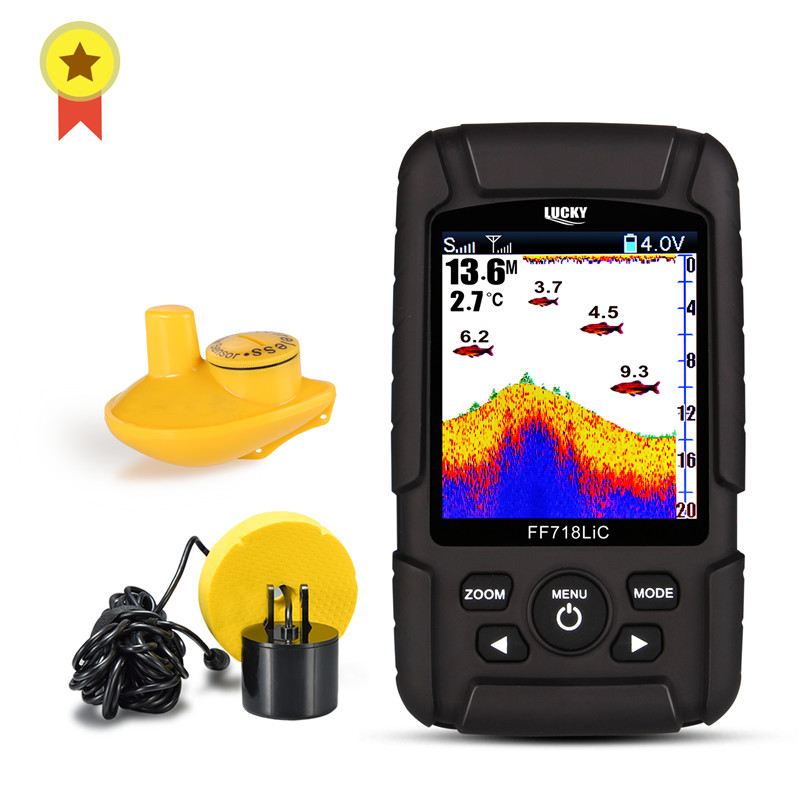 Russian menu Lucky FF718LiC Real Waterproof Fish Finder Monitor 2 in 1 Wireless Sonar Wired Transducer