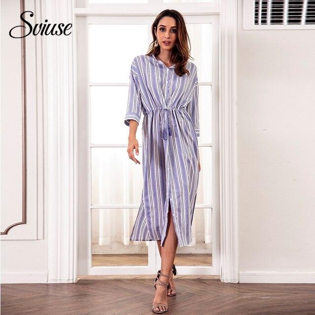56ae9b46c13 Women Striped Shirt Dress Autumn Casual Blue Maxi Long Button Dress with  Belt Female Sexy Elegant Streetwear Loose Fall Dresses
