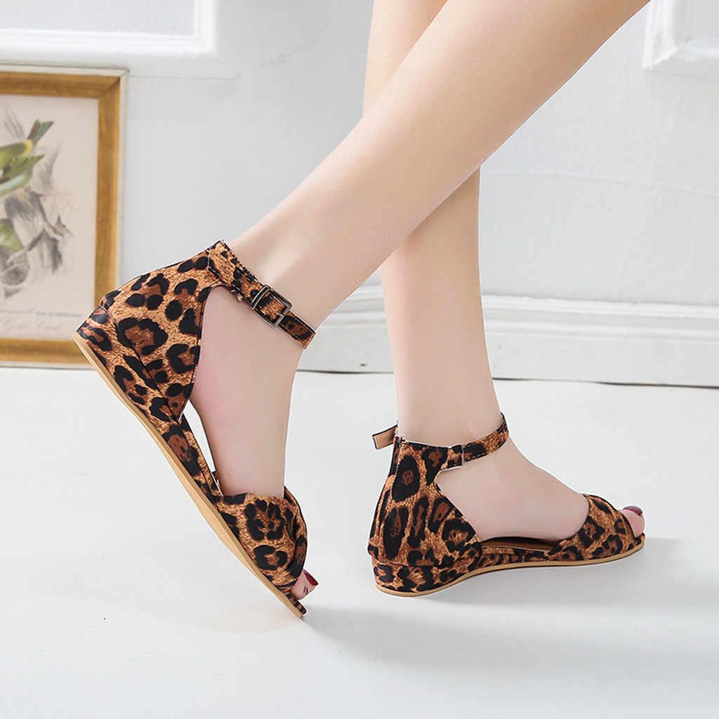 Leopard Women's Summer Sandal New Arrival Bow Buckle Strap Sandals Rome Shoes Women Sandals High Quality Chaussures Femme