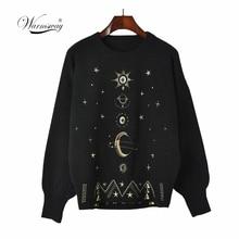 Дизайн звездное небо свитер с вышивкой высокого класса 2020 новый осенне зимний свободный джемпер женский свитер пуловер вязаный Топ подиумный C 055