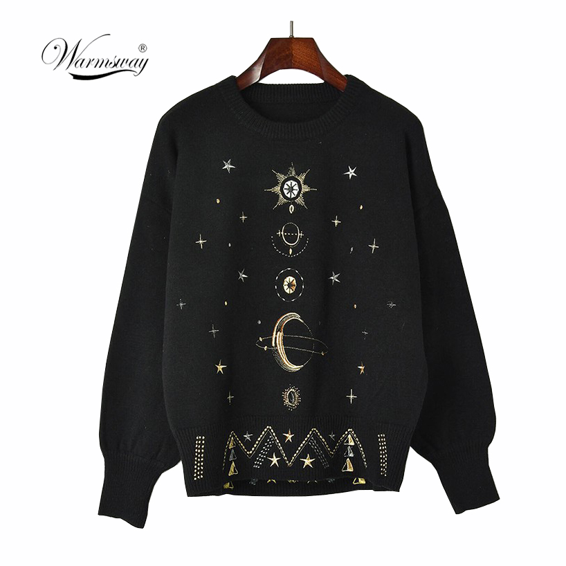 Design Starry Sky Embroidery Sweater High-End 2020 New Autumn Winter Loose Jumper Women Sweater Pullover Knit Top Runway C-055