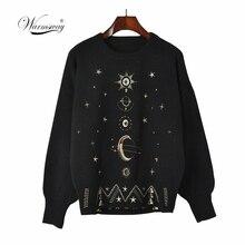 Design Starry Sky haftowany sweter High End 2020 nowy jesienno zimowy luźny sweter kobiet sweter sweter dzianinowy Top Runway C 055