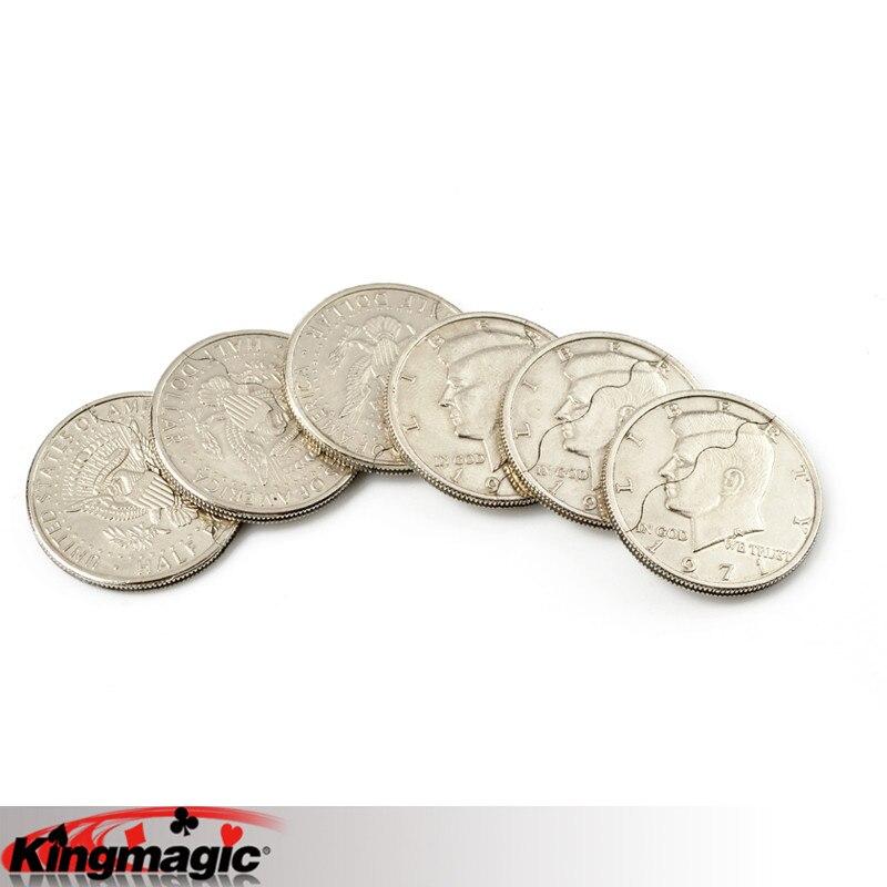 Mordida moeda truques de magia meio dólar frete grátis adereços brinquedos mentalismo rua magia