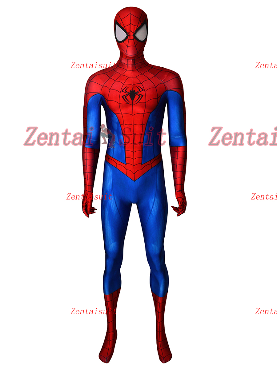 Spiderman Costume PS4 Classic 3D Printed Spider Man Superhero Costumes Cosplay Suit For Adult Kids Custom