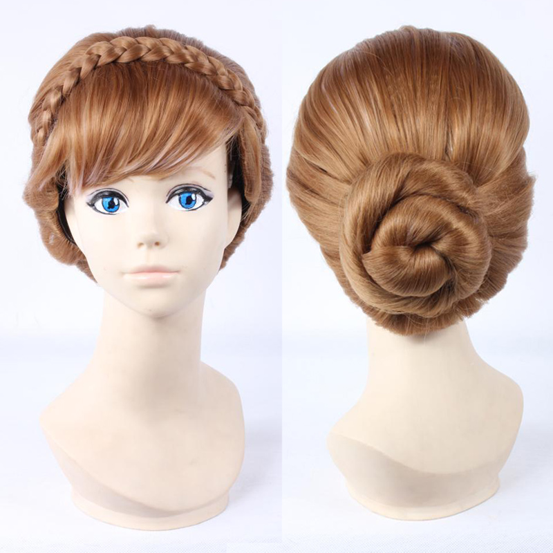 High Temperature Fiber Double Braids Long Natural Brown Mix Blonde Anna Updo Synthetic Cosplay Wig + Wig Cap