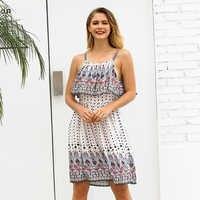 bohemian sundresses beach clothes women summer 2019 casual print cotton  dresses plus size spaghetti strap cami flowy dress C3021