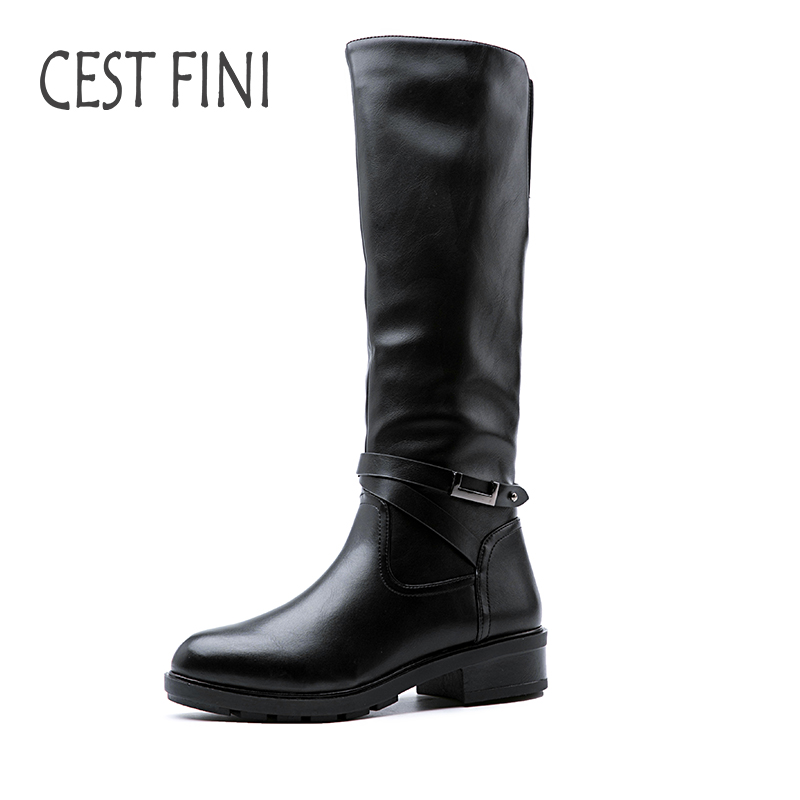 CESTFINI Knee High Women Boots Real Rabbit Hair Inside Warm Winter Leather Boots Low heeled Women Black Shoes Size 36-41#B013