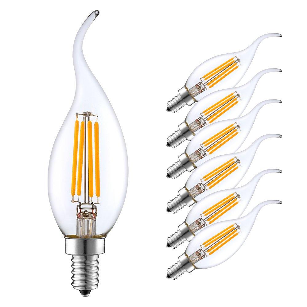 E14 LED Candle Bulb Warm/Cold White 2W/4W/6W C35 Edison Retro Filament Lamp Chandelier Light 6pcs/lot