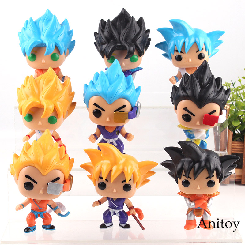 2pcs Anime Dragon Ball Super Saiyan Blue God Z Son Goku Action Figure Set Doll