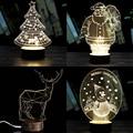 Creative 3D Night Light Table Lamp Stylish Transparent 5 Styles Wireframe LED Christmas Tree Deer Desk Room Decor Birthday Gift
