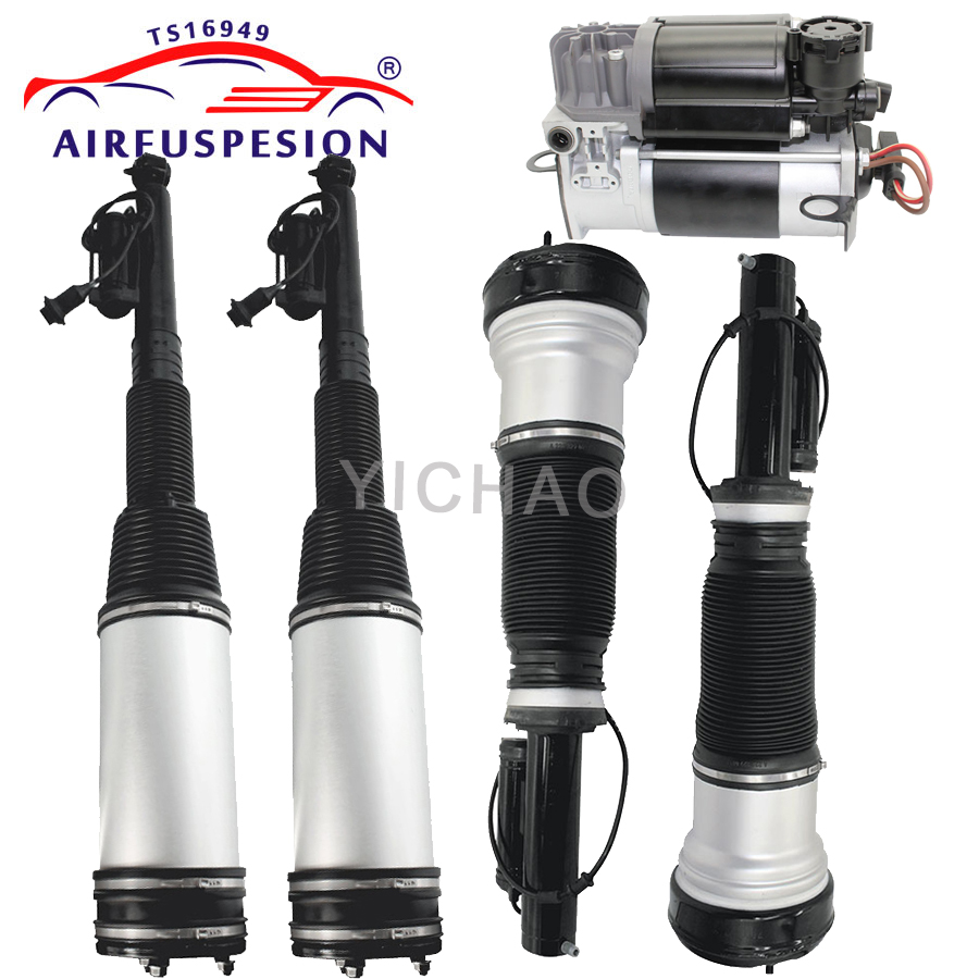 1 set 5pcs for mercedes <font><b>Benz</b></font> <font><b>W220</b></font> air suspension shock air strut and compressor pump S320 S350 S430 <font><b>S500</b></font> 2203205113 2203205013 image