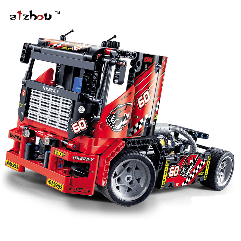 Stzhou 42041 Race Truck Car 2 In 1 Transformable Model Building Block Sets Decool 3360 DIY Toys Compatible With lepin Technic 608pcs race truck car 2 in 1 transformable model building block sets decool 3360 diy toys compatible with legoe technic blocks