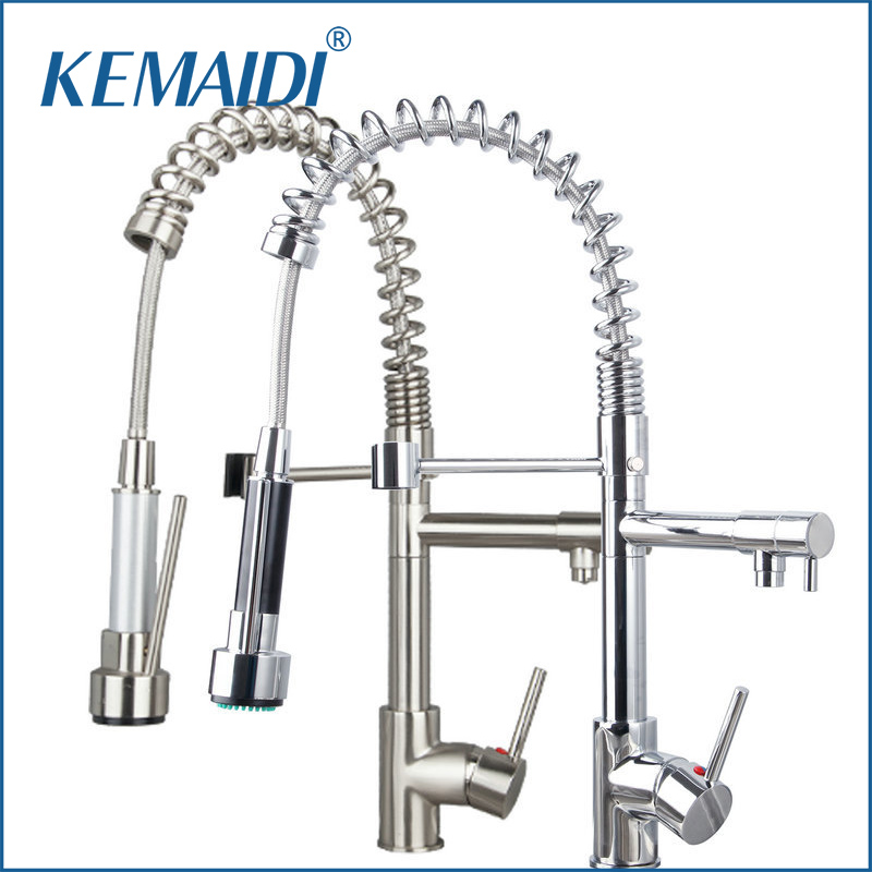 KEMAIDI Good Quality Solid Brass Kitchen Faucet Pull Out Down Faucets Mixers&Taps Swivel Hot And Cold Mixer Tap Bathroom Faucet new pull out black kitchen faucet crystal copper sink kitchen mixer classica mixers faucets bathroom faucet hp 6126r