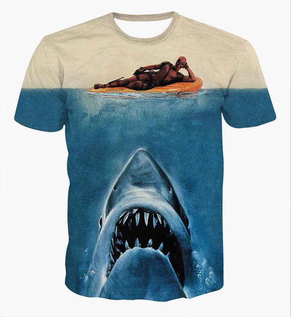 Navio da gota chegam novas Jaws Deadpool T - camisas dos homens das mulheres verão Hipster 3D camiseta Comics Deadpool camisetas tees tops
