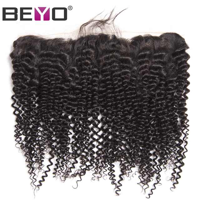 Beyo Ear To Ear Lace Frontal Closure Brazilian Kinky Curly Hair 13×4 Natural Hairline With Baby Hair 100% Non-Remy Human Hair