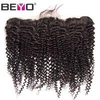Beyo Oor Tot Oor Kant Frontale Sluiting Braziliaanse Kinky Krullend haar 13x4 Natuurlijke Haarlijn Met Baby Haar 100% Niet-Remy Menselijk haar