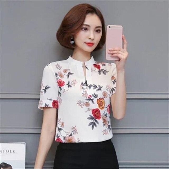 09585e5ddc Summer Fashion Floral Blusa de Gasa Agradable Elegante Casual Mujer Camisas  Ropa Camisa de Estampado de
