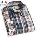 Langmeng 2016 retro spring 100% cotton plaid casual shirts hot selling mens dress shirts long sleeve cotton shirt men plus size