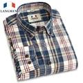 Langmeng 2016 retro spring 100% cotton plaid casual shirts hot selling mens dress shirts long sleeve cotton shirt men plus size