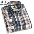Langmeng retro 2016 primavera 100% algodão xadrez camisas casual quente venda de camisas de vestido dos homens camisa de manga longa de algodão dos homens plus size tamanho