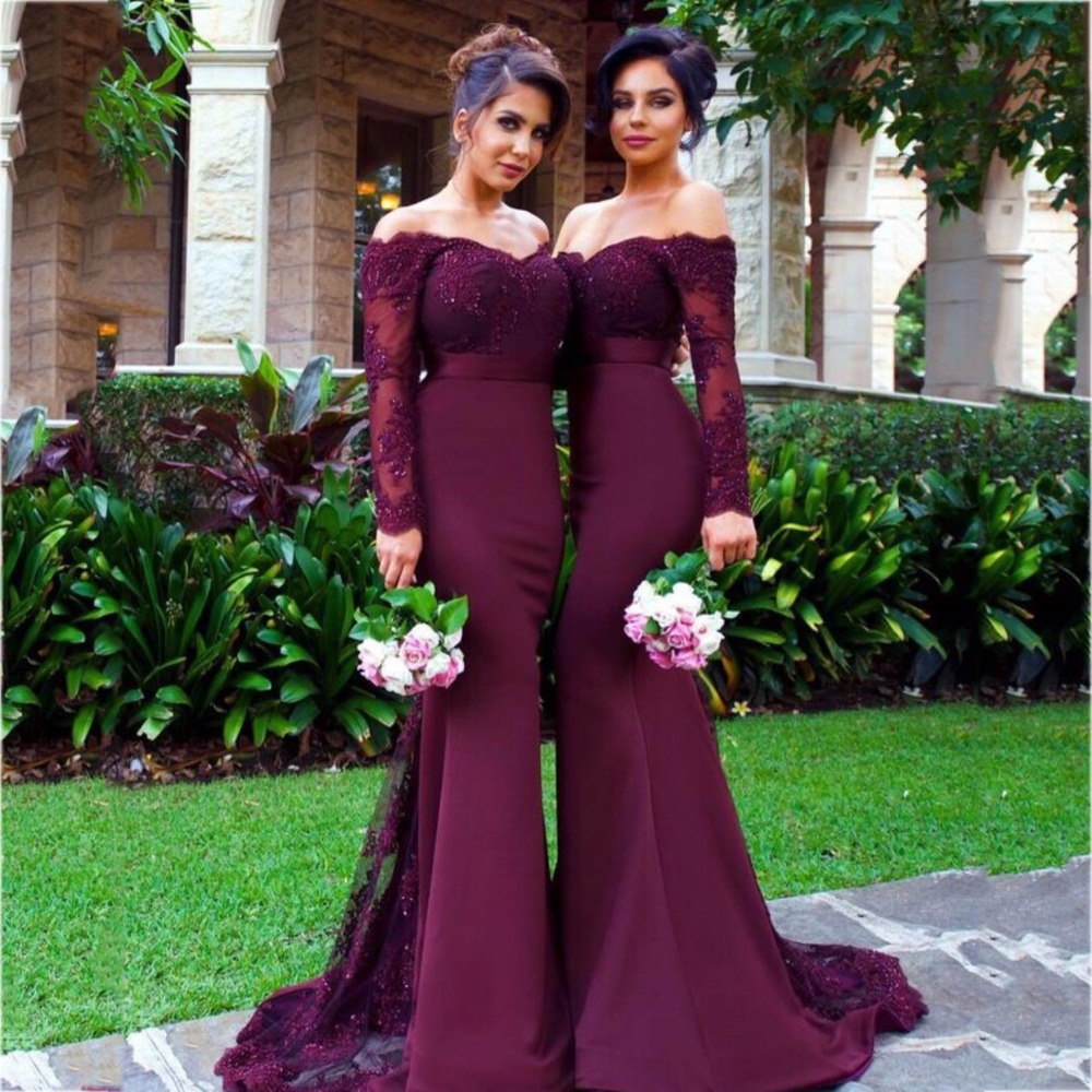 Modest Purple Long Bridesmaid Dress Long Lace Greek Bridesmaid Gowns Women  Formal Gowns Middle East Saudi Arabia Long Dresses-in Bridesmaid Dresses  from ... 3e6b5cc4def4