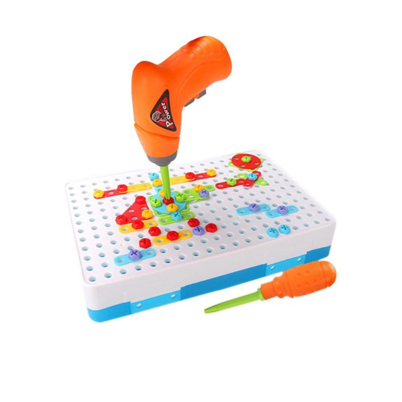 Los niños taladro eléctrico de plástico los niños taladro rompecabezas juguetes educativos tornillo grupo Kits de herramienta rompecabezas juguete de construcción
