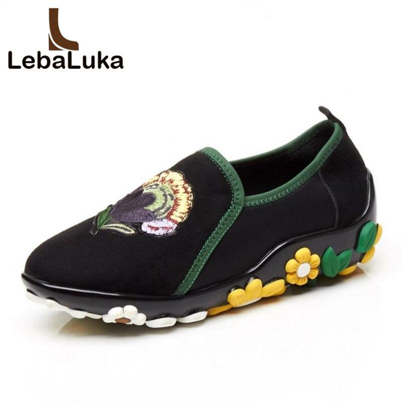 LebaLuka Dames En Cuir Véritable Broderie Fleur Pompes Femmes Épais Plate-Forme Slip On Chaussures Femmes Mode Printemps Zapatos Taille 34- 40