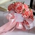 2017 Barato de La Boda/la Dama de honor Ramos de Flores Nueva Llegada Romántico Rosa/Rojo Nupcial Hecho A Mano Artificial Rose Bouquet de mariage