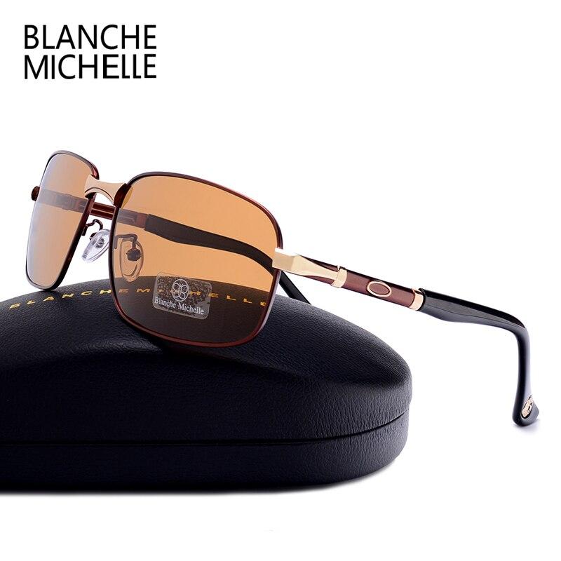 Blanche Michelle Rectangle Polarized Sunglasses Men Luxury Brand Designer 2018 New UV400 Vintage Sun Glasses Male Oculos De Sol