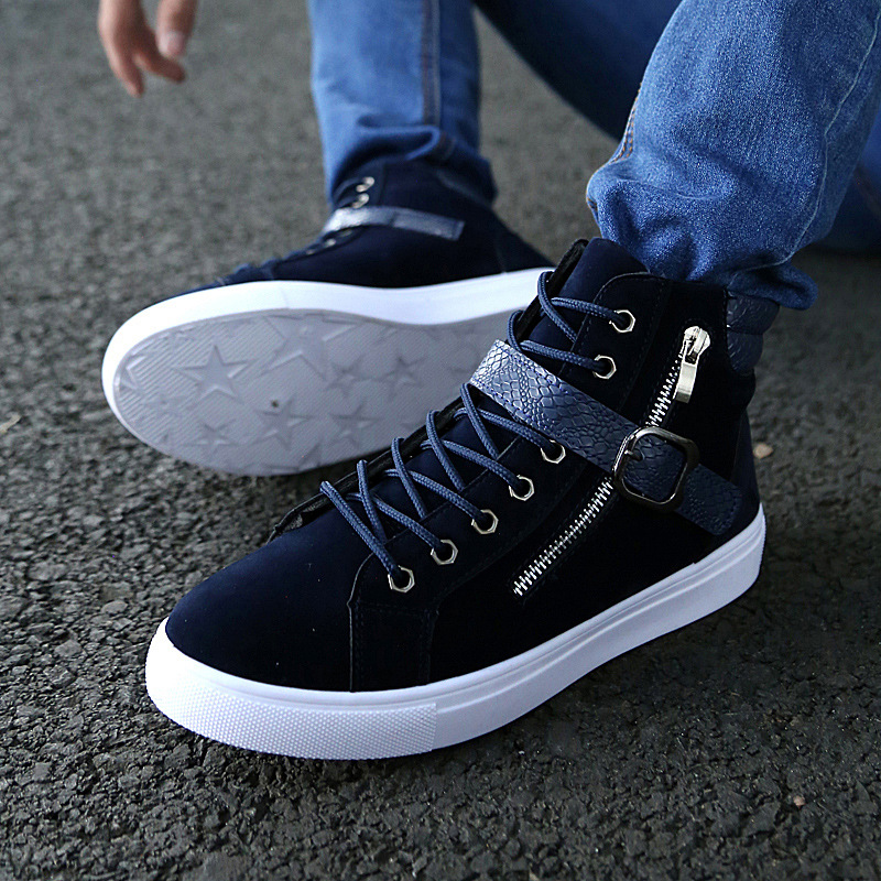High Top Mens Fashion Sneakers Lace Up Pu Leather Sport Side Zip Athletic Casusl
