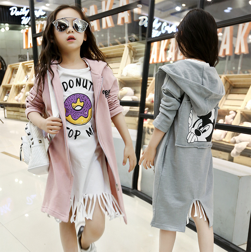 2018 children's autumn clothing solid color cartoon trench Coats girls casual medium-long outerwear 2018 children s autumn clothing solid color cartoon trench coats girls casual medium long outerwear