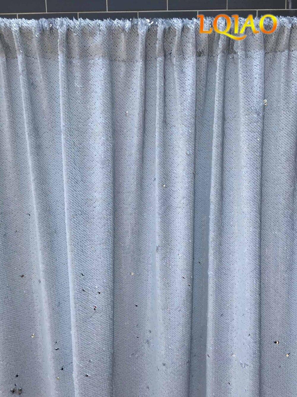 LQIAO Réversible Blanc et Argent Toile De Fond De Paillettes Curtain-4ftx6ft, Sirène Poissons Échelle Sequin Photographie pour la Décoration De Mariage