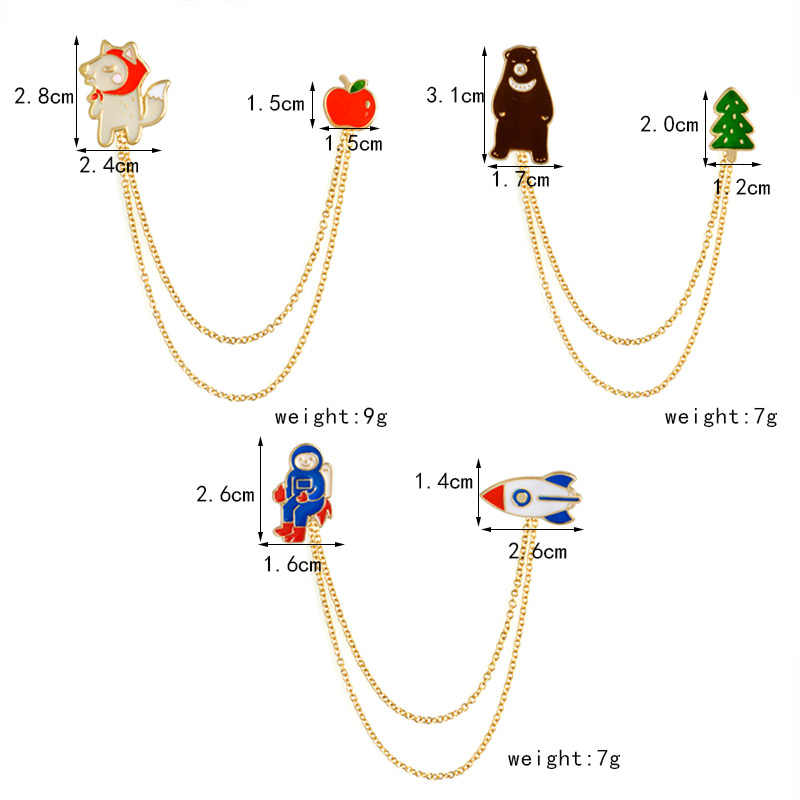 Astronaut Spaceman Roket Ruang Angkasa Ruang Universe Tata surya Pin Lencana Kerah Pin Bros Beruang Serigala Apple Pohon Hewan Bros