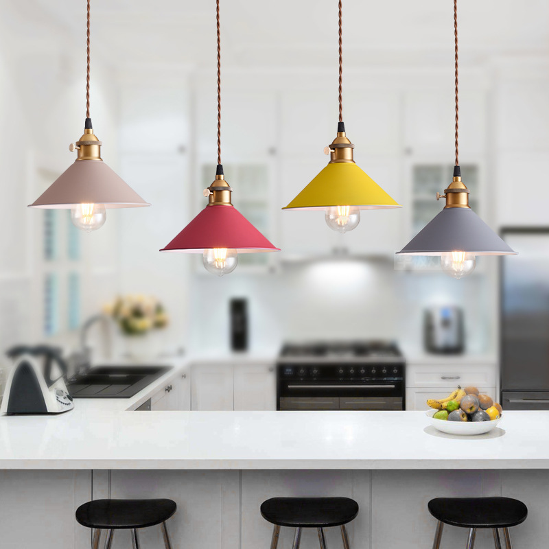Nordic Pendant Lights For Home Lighting Modern Hanging Lamp Iron Lampshade LED Bulb Bedroom Coffee Kitchen Light 90-260V E27 nordic modern wood glass pendant lights simple art coffee restaurant hanging lamp living bedroom pendant lamp for home lighting