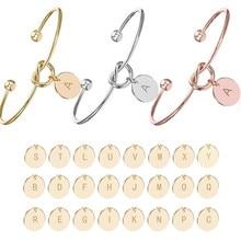 Персонализированные браслеты с узлом, A-Z, 26 букв, начальный Шарм, любовь, браслет для женщин, ювелирные изделия, Pulseiras, подарок