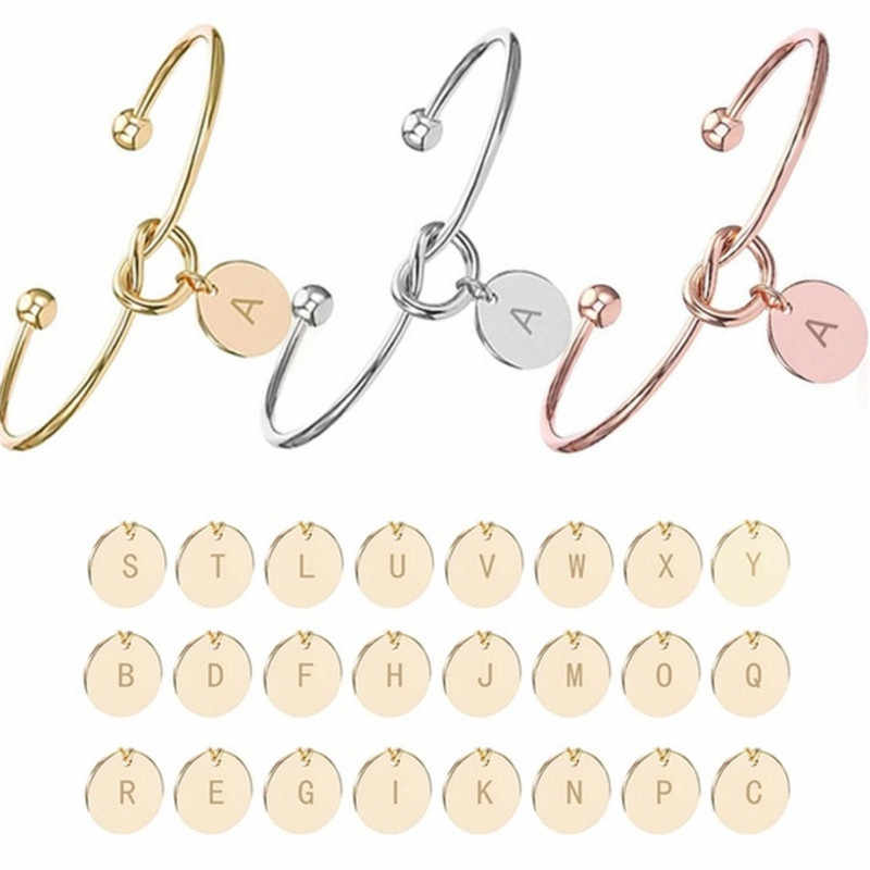 Personalized Knot Initial Bracelets Bangles A-Z 26 Letters Initial Charm Love Bangle for Women Jewelry Pulseiras Gift Wholesale