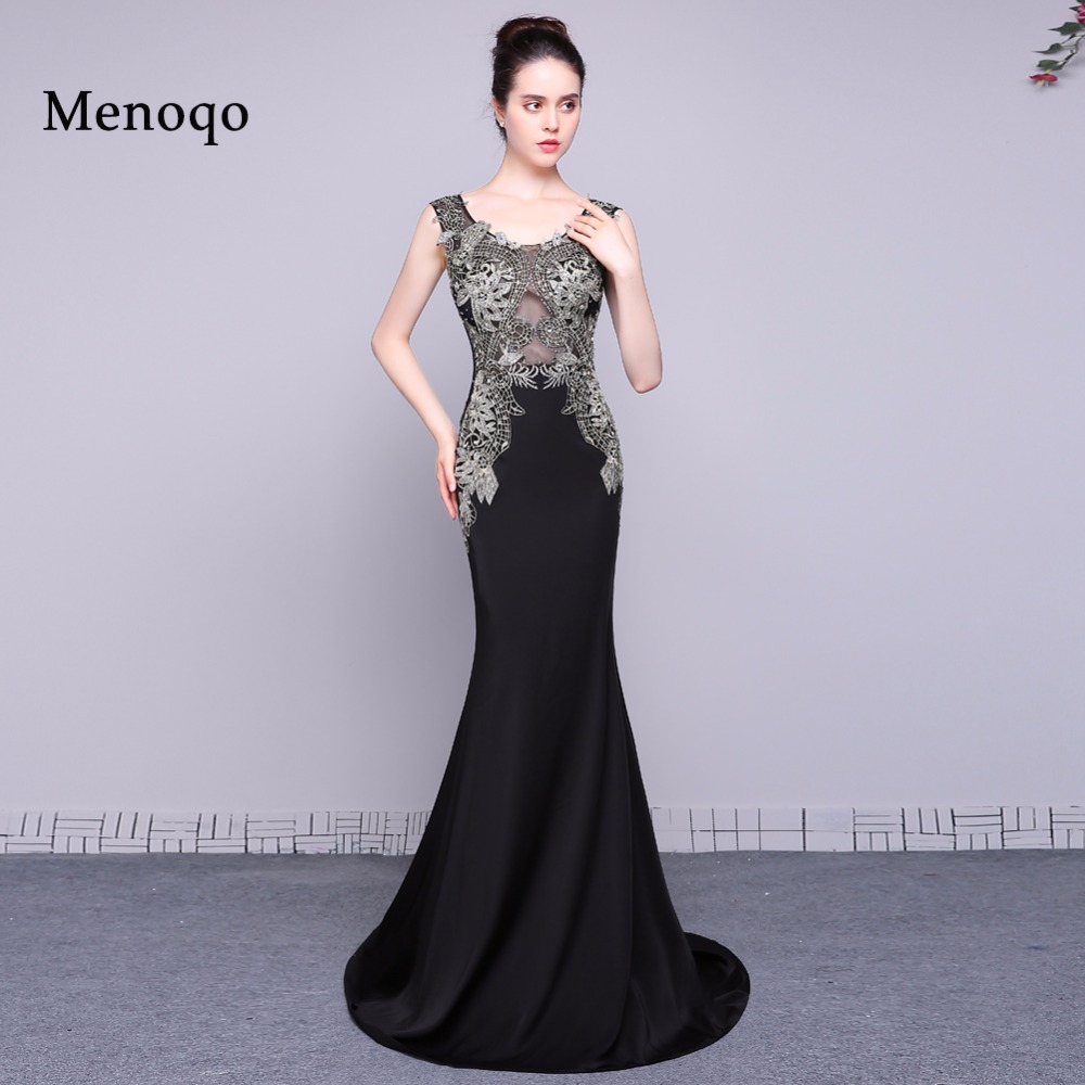 elegant real long evening dress 2018 fashion applique beaded mermaid ...