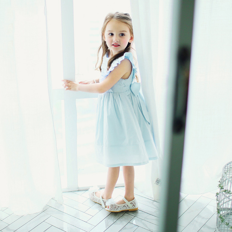 New Fashion Kids Princess Light Blue Dress For Baby Girls Bow Knot Costume Children Party Flare Sleeve Dresses For 5 6 7 8 Years